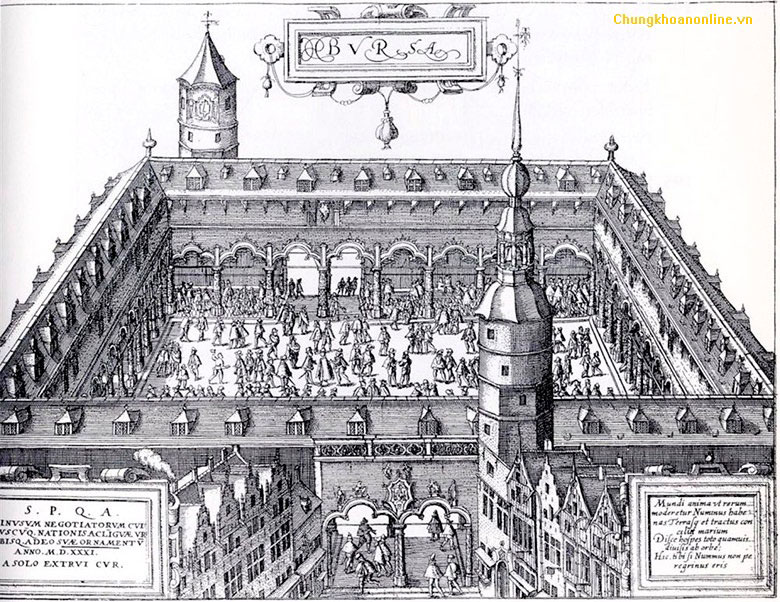 Ảnh: Vintage Antwerp Exchange năm 1531