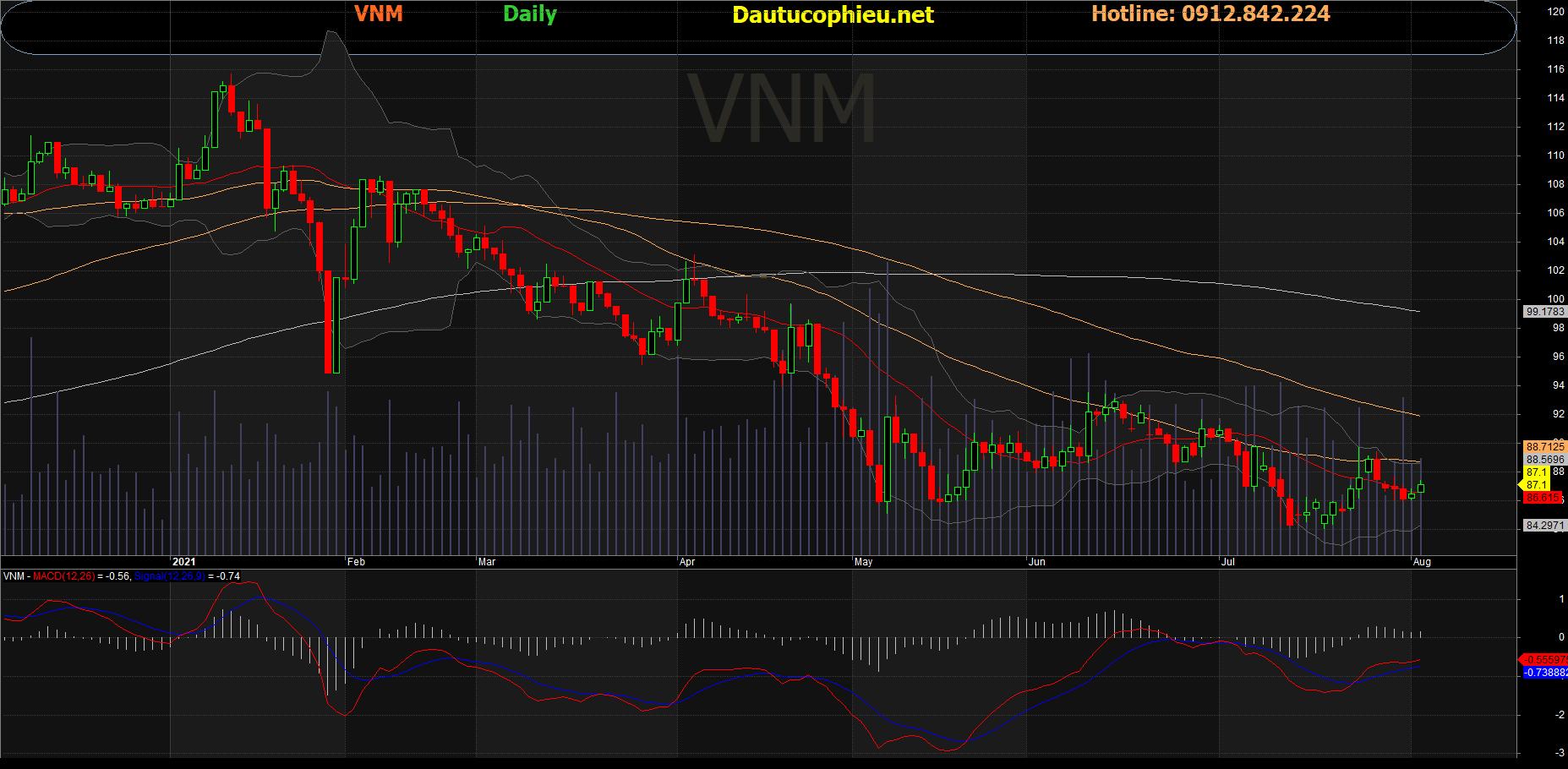 Đồ thị cổ phiếu VNM phiên giao dịch ngày 03/08/2021. Nguồn: AmiBroker