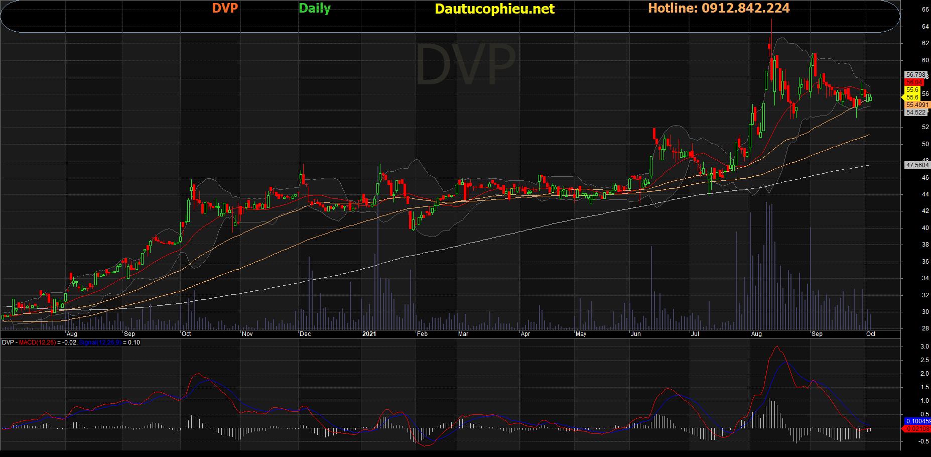Đồ thị cổ phiếu DVP phiên giao dịch ngày 05/10/2021. Nguồn: AmiBroker