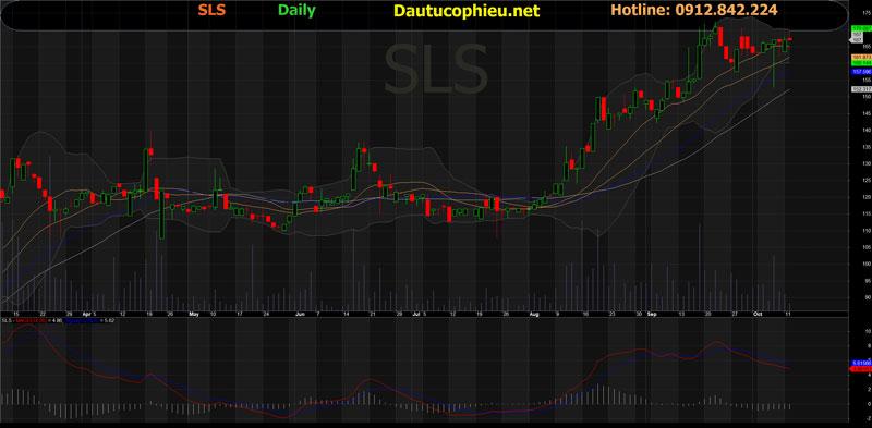 Đồ thị cổ phiếu SLS phiên giao dịch ngày 12/10/2021. Nguồn: AmiBroker